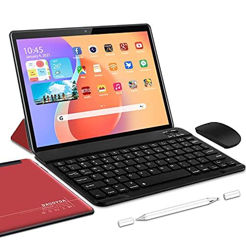 5G Tablette Tactile Android 10.0 WiFi Tablettes 10 Pouces, 4Go RAM + 64/SD 128Go ROM, Certification Google GSM Tablet WiFi - Quad Core 1.6GHz Tablette PC avec Clavier et Souris (Rouge)