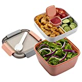 Freshmage Salad Lunch Container To Go, 52-oz Salad Bowls with 3 Compartments, Salad Dressings...