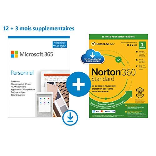 Microsoft 365 Personnel | Téléchargement | PC ou Mac | 1 personne | 15 Mois + NORTON 360 Standard | 15 Mois | PC/Mac | Code d'activation - envoi par email