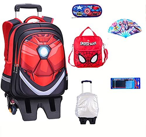 Zaino per bambini Superheld Spiderman, borsa per la scuola elementare, zaino studente per studente, con trolley, 6 ruote, borsa da viaggio con borsa per il pranzo, Iron Man-41 x 32 x 17 cm