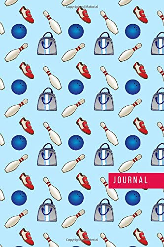Journal: Bowling Pin Shoe and Bag Pattern on Light Blue Cover / Ruled 6x9 Small Composition Notebook for Writing / Blank Lined Paper Book / Cute Card Alternative / Gift for Journal Lovers and Writers