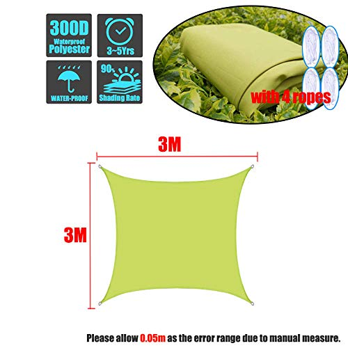 Grün 300D Oxford Fabric Rectangle Square Shade Sail Wasserdichter Sonnenschutz für den Außenbereich Schwimmbadabdeckung Sonnenschutzschuppen Pavillon Schatten-3x3m