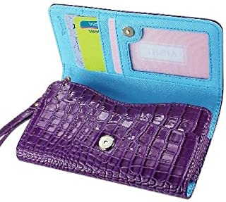Leather Wallet Flip Carrying Case Pouch for BLU Studio 5.5 S - with Card Holder and Removable Strap - Crocodile Pattern - Magnetic Clasp for Easy Phone Access - (Purple Plus Interior Light Blue) + Mini Touch Screen Stylus