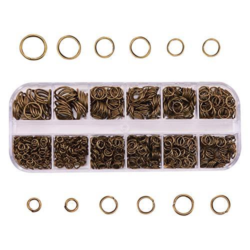 YUANMAO Anillos de salto 1030 unidades, anillos abiertos para pendientes, pulseras, collares, cadenas, tobilleras, proyectos de bricolaje cian