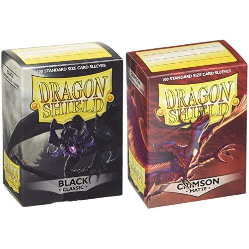 Pegasus Arcane Tinmen 10002 Dragon Shield - Fundas Protectoras para Cartas coleccionables (100 Unidades), Color Negro + Funda Crimson (100)
