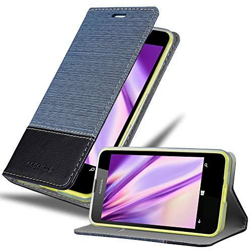 Cadorabo Hülle für Nokia Lumia 630 - Hülle in DUNKEL BLAU SCHWARZ – Handyhülle mit Standfunktion und Kartenfach im Stoff Design - Case Cover Schutzhülle Etui Tasche Book