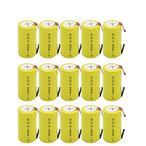 Aya611 15PCS batería 3400mAh 1.2V Baterías Recargables Sub C con lengüeta para Herramientas eléctricas