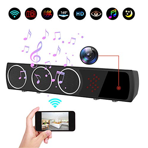 Hidden Camera in Bluetooth Speaker with Stronger Night Vision, Wireless 1080P WiFi HD Spy Camera with Motion Detection/Real-Time View Mini Nanny Cam