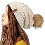 Image of FURTALK Womens Winter Knit Slouchy Beanie Hat Warm Skull Ski Cap Faux Fur Pom Pom Hats for Women