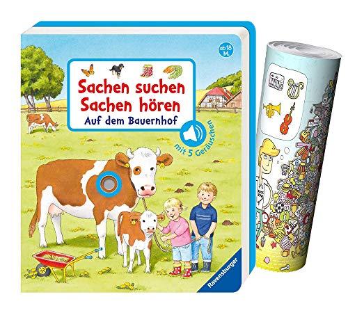 Buchspielbox Buscar cosas, escuchar cosas: en la granja + póster, libro de fotos de cartón a partir de 18 meses.