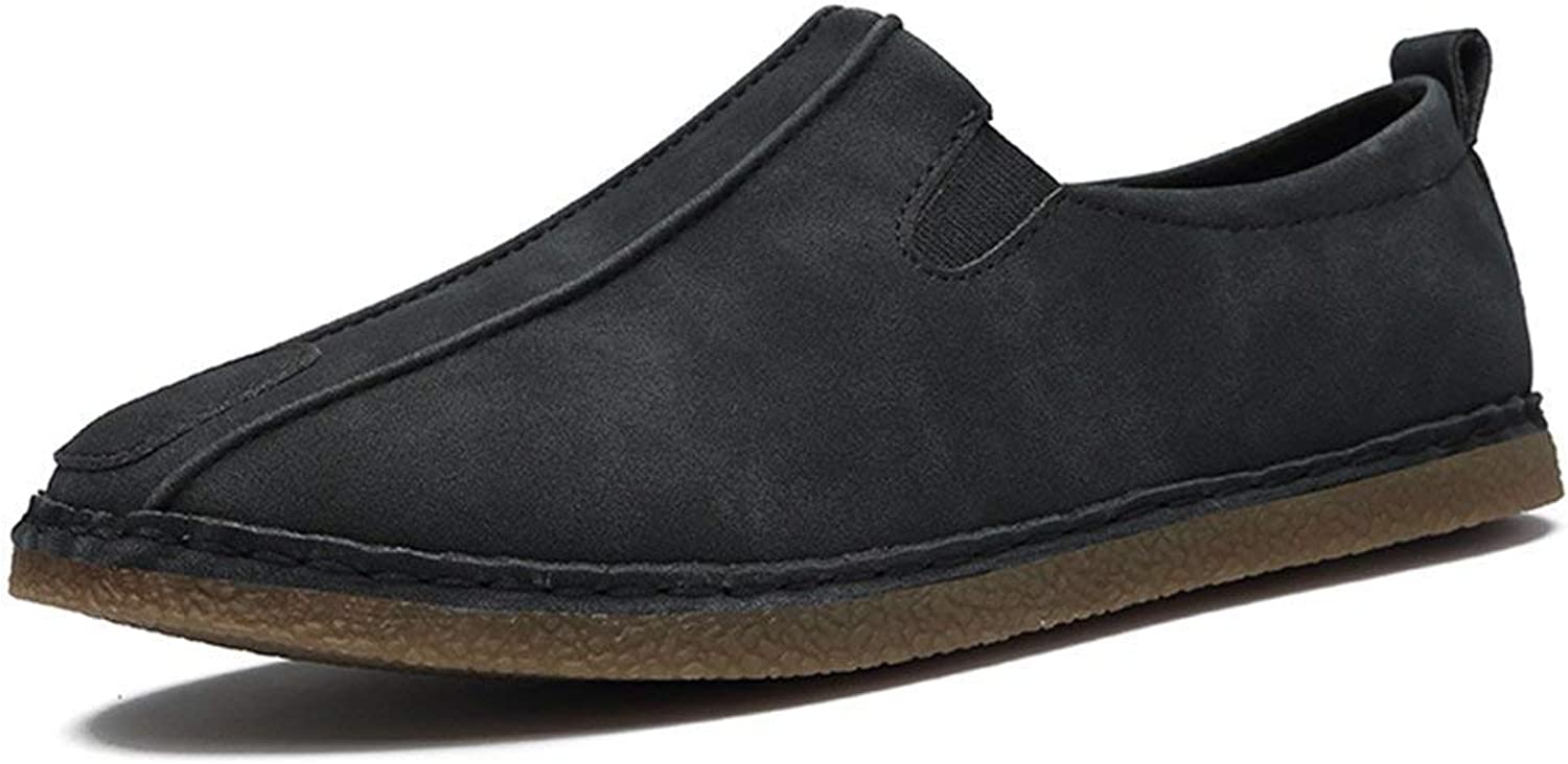 ZHRUI Men's Closed-Toe Chelsea Casual Suede Loafers (color   Black, Size   6.5 UK)