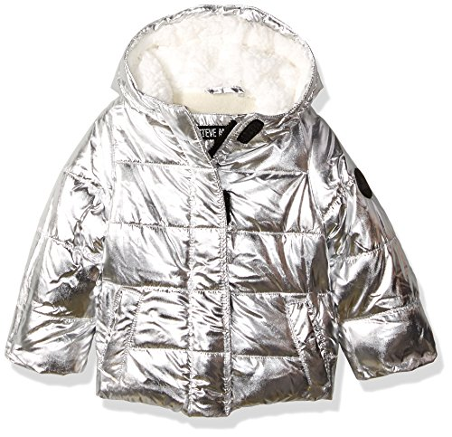 Steve Madden Baby Girls' Fashion Outerwear Jacket (More Styles Available), 8038-Silver, 18M