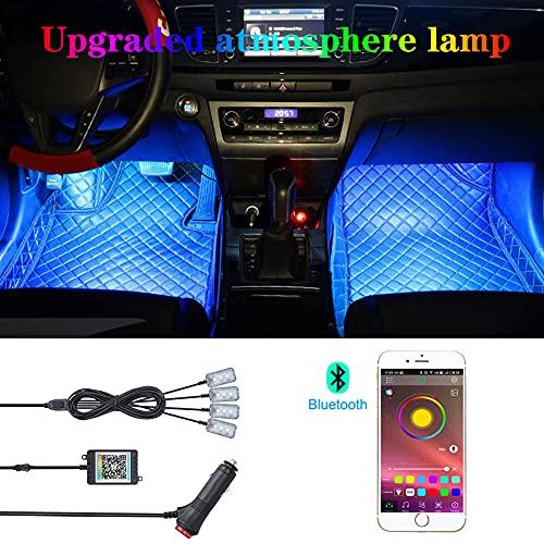 TABEN Luce Ambientale per Auto Controllo App Lampada per Atmosfera Auto Lampada Fai da Te Refit 64 Colori Illuminazione vano Piedi Interno Luce Decorativa 1W DC 12V