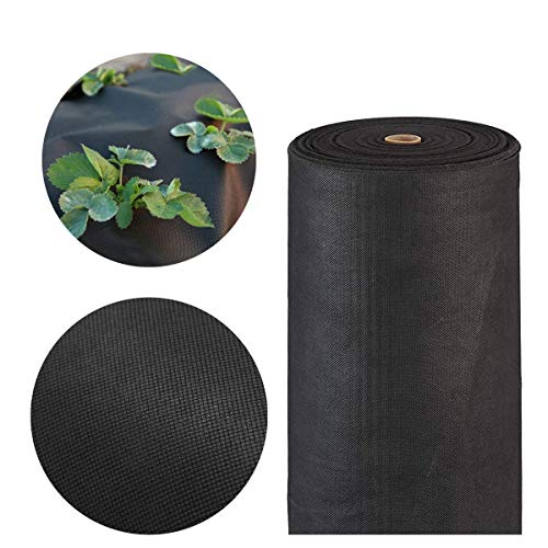 Toile Anti-Mauvaises Herbes 1x100m, Géotextile Gravier, Bache Anti Mauvaises Herbes Anti-UV 100g/m2, Tissu Perméable Résistant à la Déchirure