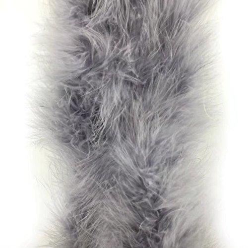 1 Stück gefärbte flauschige Federboa mit 182,9 cm Länge von Celine Lin mit Truthahn-/Marabu-Federn für Party, als Kostüm, als Schal, zur Hochzeit, als Raumdekoration. grau