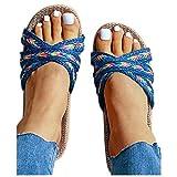 Cenglings Slides,Women's Bohemian Open Toe Summer Strappy Espadrilles Shoes Slip On Slippers Linen Plus Size Beach Sandals(Blue,270)