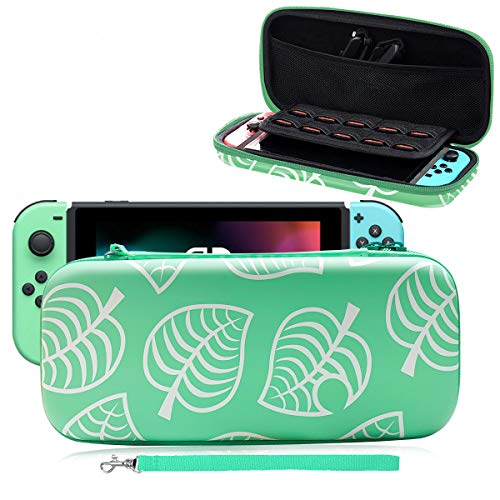 Funda de transporte para Nintendo Switch, [New Horizons Edition] New Leaf Crossing funda protectora completa para interruptor, bolsa de transporte portátil para Nintendo Switch, color azul y verde