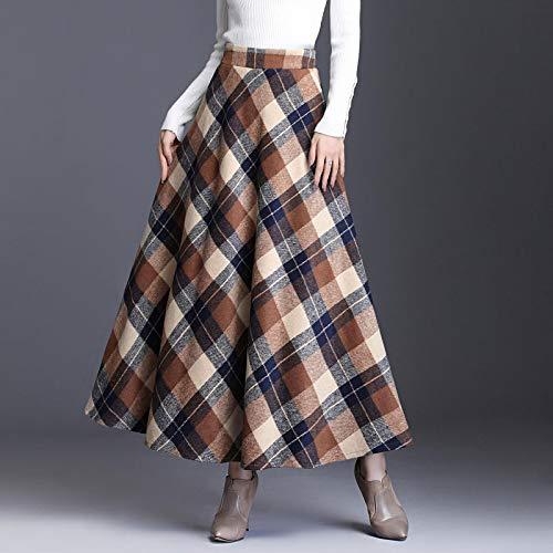 Astemdhj Falda Escocesa Scottish Skirt Otoo Invierno Cintura Alta Paraguas Escocs Maxi Falda Mujeres Casual Bolsillo Inglaterra Rejilla Falda A Cuadros Falda Larga XXL Khakigrid