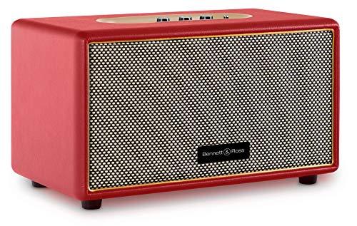 Bennett & Ross BB-860RD Blackmore - Retro Bluetooth Lautsprecher in Lederoptik - Vintage Speaker mit 2X 30W Leistung - USB-Eingang mit MP3-Player - 3,5mm Klinke Aux-Anschluss - Rot
