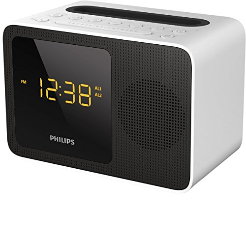 Philips Radiowecker AJT5300W/12 Uhrenradio (Bluetooth, Digitaler UKW-Tuner, Sleep-Timer, 3,5 mm-Audioeingang, USB-Aufladestation) Weiß/Schwarz