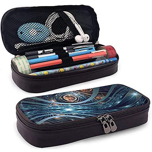 Estuche de lápices de cuero de PU, soporte para bolígrafo de barra de hierro de engranajes, bolsa de maquillaje cosmético, bolsa de lápiz organizador de papelería