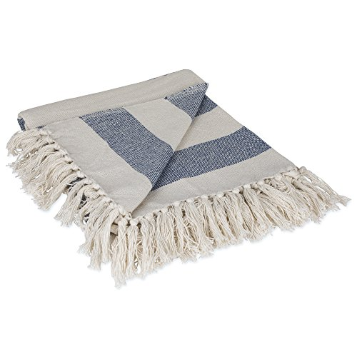 DII Rustic Farmhouse Cotton Cabana Striped Blanket Throw with Fringe For Chair, Couch, Picnic, Camping, Beach, & Everyday Use, 50 x 60 - Cabana Striped French Blue