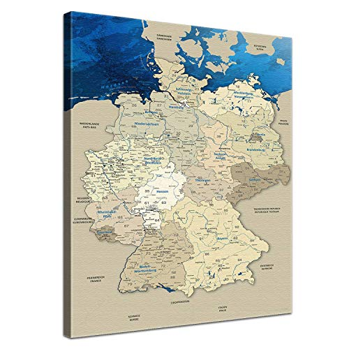 """LANA KK – Deutschlandkarte Leinwandbild mit Korkrückwand zum pinnen der Reiseziele """"Deutschlandkarte Blue Ocean"""" - deutsch - Kunstdruck-Pinnwand Globus in blau, in 70x100cm"""