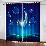 MXYHDZ Cortinas Dormitorio Opacas - Luna de estrellas de dibujos animados Impresión 3D, Decoracion de Ventanas Salon Termicas Aisantes Frio y Calor - 150 x 166 cm para Oficina, Dormitorio habitación d