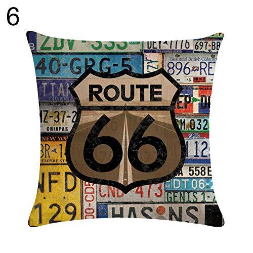 Ukallaite Fashion Pillowcase&Vintage Route 66 Linen Pillow Case Soft...