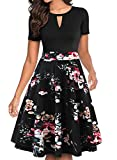 YATHON Casual Dresses for Women Party, Fit and Flare Knee Length O Neck White Floral Fall Hawaiian Holiday Dinner Cute Elegant Wedding Guest Dress (XL, YT018-Black Floral 02)