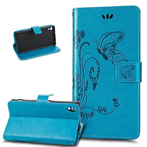 Kompatibel mit Sony Xperia Z2 Hülle,Sony Xperia Z2 Lederhülle,Prägung Groß Schmetterling Blumen PU Lederhülle Flip Hülle Ständer Karten Slot Wallet Tasche Hülle Schutzhülle für Sony Xperia Z2,Blau