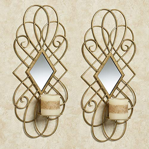 Avalaine Mirrored Wall Sconces Antique Gold Pair 9' Wx5 Dx20 H Pair