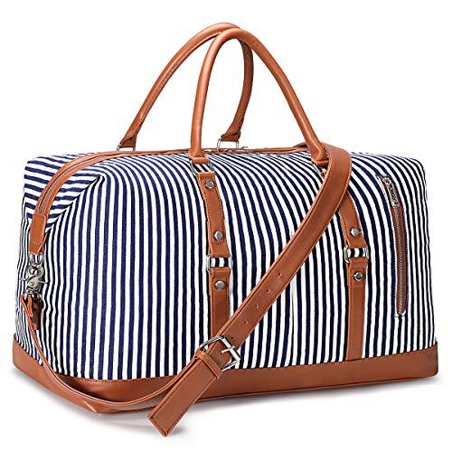 S-ZONE Reisetasche Canvas PU Leder 45L Weekender Tasche Travel Duffle Bag Übergröße Handgepäck mit Abnehmbar Schulterriemen für Reise Urlaub Wochenende Gym Übernachtung