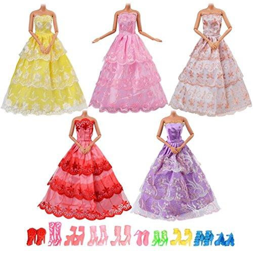 Asiv Vestiti e Scarpe 15pz per Bambola , Inclusi 5 Pezzi Moda Abiti Fatti a Mano e 10 Paia di Scarpe per Bambola da 11,5 Pollici