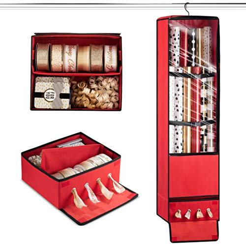 Superior Christmas Hanging Gift Wrap Organizer with Holiday Crafts & Ribbon Drawer Storage, Holds Upto 24 Rolls 40-Inch Tall, 360 Degree Swivel Bag to Easily Access Back Pocket & Wrapping Accessories