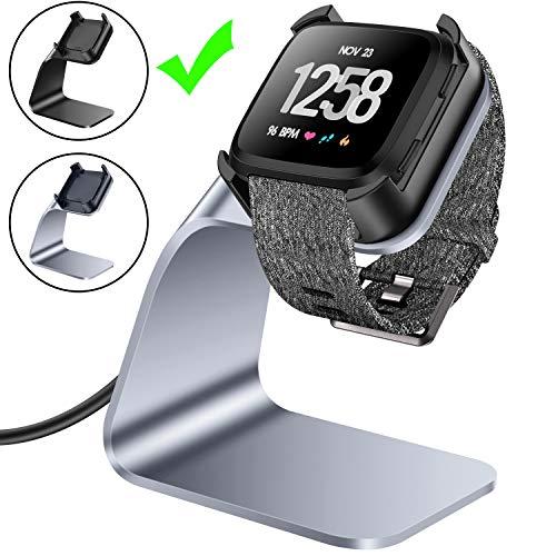 CAVN Compatible con Fitbit Versa Cargador, Carga Soporte Dock Accesorios Premium Aluminio Carga Dock Soporte Cable Estación Cuna con 4.2 ft Cable Cargador de Carga para Fitbit Versa Smart Watch