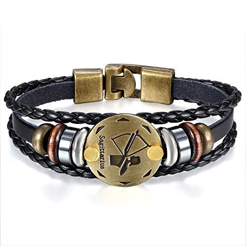 JewelryWe Schmuck Herren Damen Schütze Armband, 12 Tierkreis Sternzeichen Horoskop Charms Druckknopf Armreif, Leder Legierung, schwarz