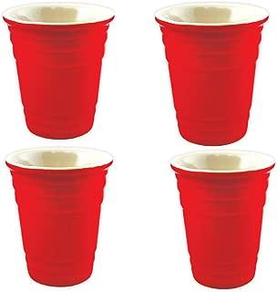 Shot Glasses Red Cup Ceramic Shot Glass - 2 oz. Novelty Party Shot Glass (Set of 4)