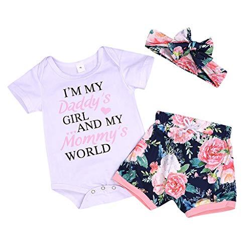 Julhold Baby Meisje Mooie Mode Letter Print Romper Bodysuit + Bloemen Slim Kort + Hoofdband Outfit 0-24 Jaar