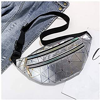 Women's Fashion Waist Packs Personalized Rock and Roll Color PU Leather Flashing Lattice Belt Bag Nerka Fanny Pack