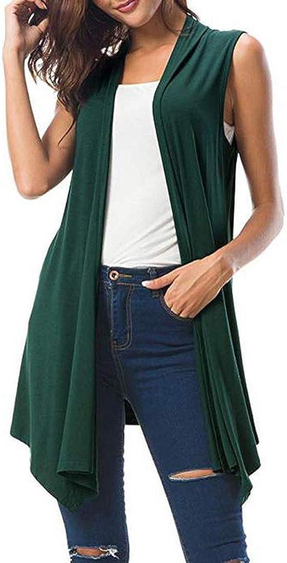 Women's Asymmetric Hem Plus Size Solid Color Open Front Cardigan Top Vest Sleeveless Green