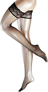 Womens Invisible Deluxe 8 Denier Ultra-Transparent Matte Stay Up Stockings - Black