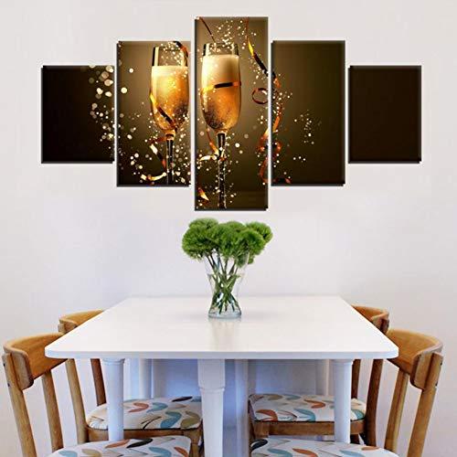 YDBDB canvas muurkunst foto's wooncultuur lijst 5 stuks prost voor het nieuwe jaar schilderij Hd afdrukken Kerstmis Champagne Poster ohne gerahmt 40 x 60, 40 x 80, 40 x 100 cm.