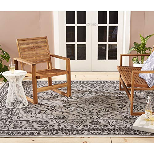 Clearance Home Dynamix Patio Country Camellia Indoor/Outdoor Area Rug, Traditional Ikat Blue/Gray 5'2'x7'2'