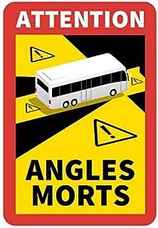 STROBO Attention Angles Morts 3 stuks voor bus / caravan, 25 x 17 cm, stickers met kentekenplaat, Frankrijk met uv-bescher...