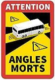 100 Stück Attention Angle Morts für Bus/Wohnwagen 25 x 17 cm Premium Aufkleber Sticker Hinweiszeichen Schild Toter Winkel Frankreich mit UV Schutz speziell für Außenbereich von STROBO