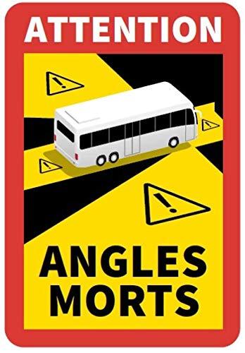 STROBO 3 Stück Attention Angles Morts für Bus/Wohnwagen 25 x 17 cm Aufkleber Sticker Hinweiszeichen Schild Frankreich mit UV Schutz speziell für Außenbereich