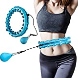JARHOT Smart Weighted Hoola Fitness Hoops for Adults Weight Loss, Adjustable Weighted Auto-Spinning Ball, 24 Sections Detachable Knots Popular holahoop Suitable for Women Men and Children Blue