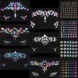 10 Hojas Pegatinas Faciales de Joya de Sirena de Gemas Diamantes de Imitación Tatuajes Temporales de Ojos Cara Cuerpo Pegatinas de Piedras Preciosas de Lágrimas de Cristal (Estilo Elegante)