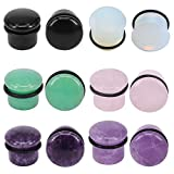 "7 16 plugs for ears - PunkTracker 6Pairs 4g-11/16"" Multiple Stone Single Flared Ear Plugs with Silicone O-Ring Expander Gauges"